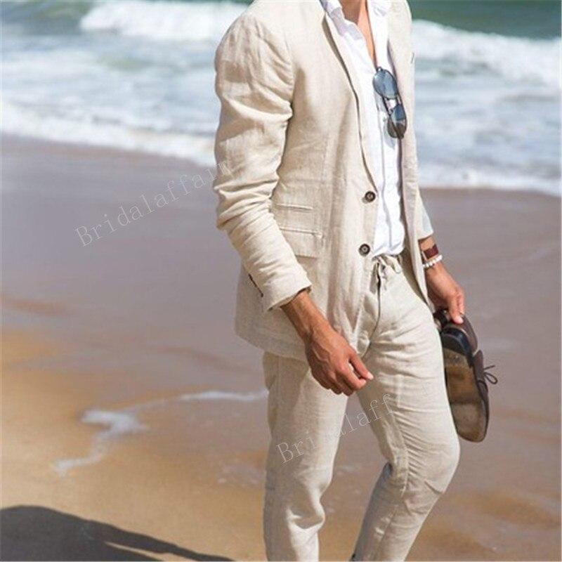 Gwenhwyfar 리넨 여름 캐주얼 남자 정장 슬림 맞는 남자 친구 정장 파티 드레스 웨딩 드레스 2 pcs 자켓과 바지 세트-에서정장부터 남성 의류 의  그룹 1