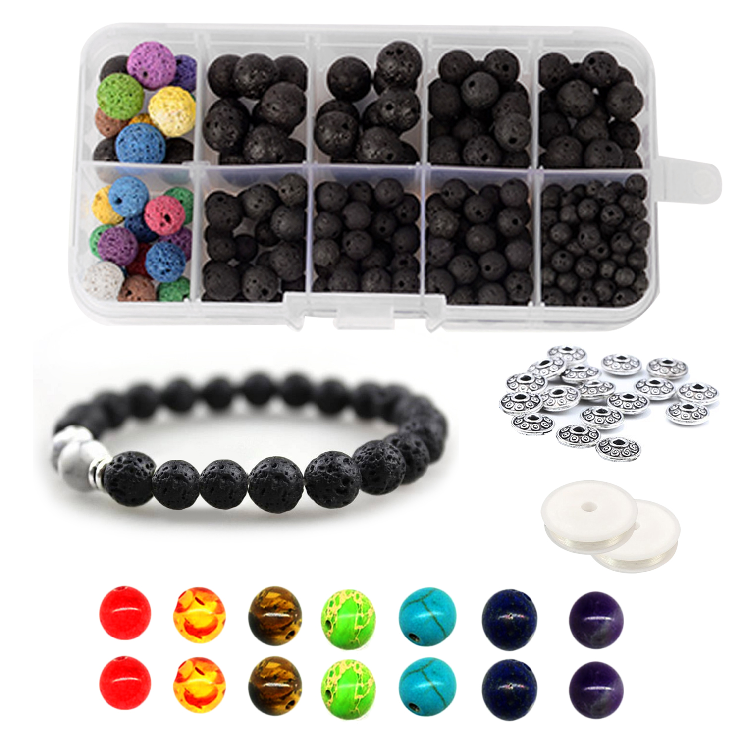 339pcs 8mm Chakra Beads Lava Rock Stone Volcanic Loose Bead Set With 2 Roll Crystal String For DIY Bead Bracelet Necklace Making