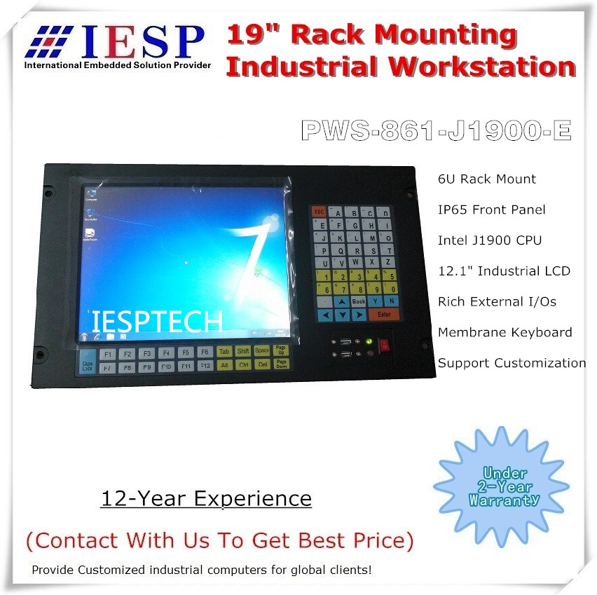 6U rack mounting computer, 12.1 inch LCD, J1900 CPU, 4GB RAM, 500GB HDD, Rich I/Os, Rack Mount touch panel pc, OEM/ODM