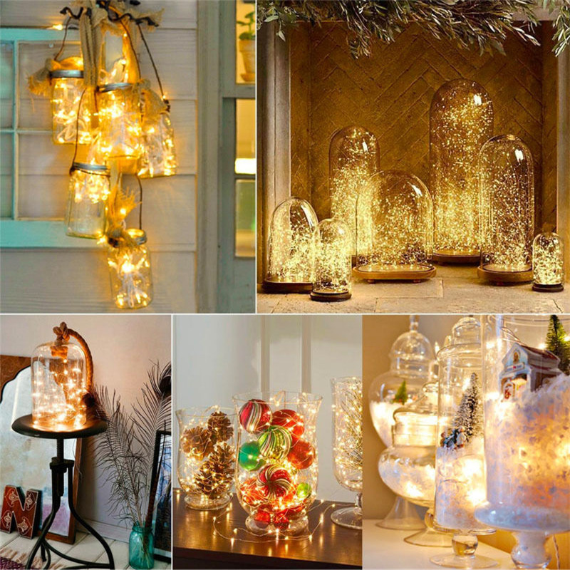 LED Fairy String Light 1M 2M 5M Copper Wire LED Strip Holiday Light Party Wedding Garland Lighting Decoration CR2032 Battery