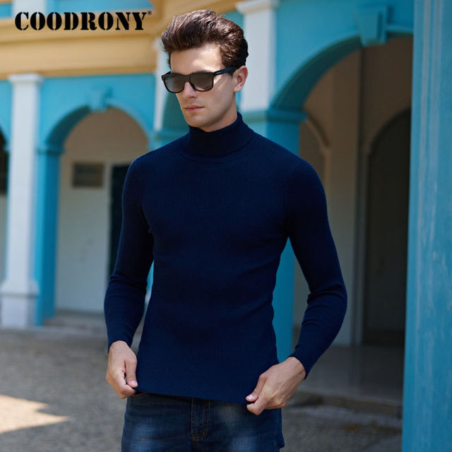 Sweaters Cashmere Wool For Men Thick Warm Elegant Modern Turtleneck Pullover Winter Solid Color Soft