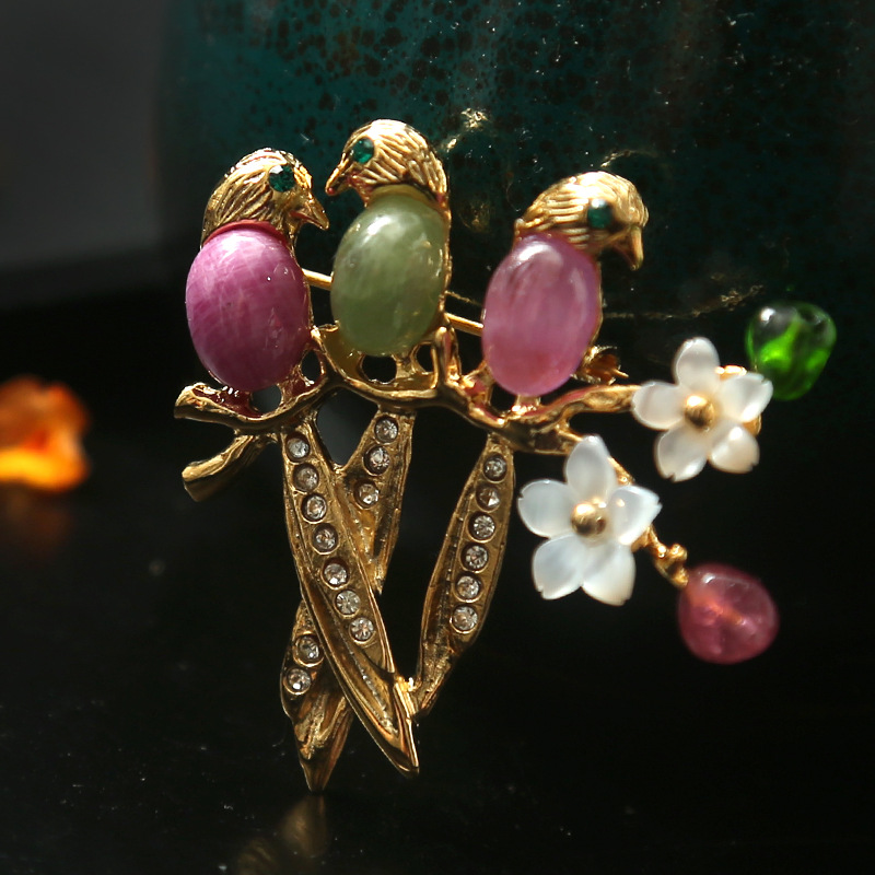 Amxiu Customized Italian Design Natural Ruby Tourmaline 925 Sterling Silver Brooch and Pendant Flower Birds Shape Brooches Pins цена