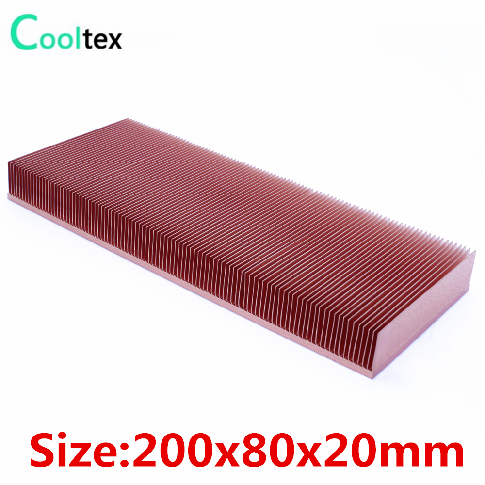цены 2017 new 200x80x20mm Pure Copper Heatsink Skiving Fin Heat Sink for electronic Chip LED Power Amplifier cooling cooler