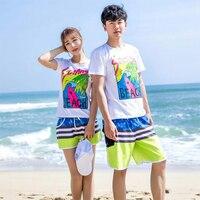 2018 Surf Board Beach Shorts Couple Swim Bathing Suit Trunks Drawstring Swimwear Sports Pants Swimsuit Sportswea