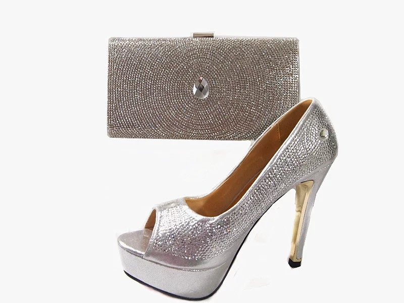 ФОТО JA111 Silver Fashion Italian Woman Matching Shoes And Bag Set For Party,High Quality Shoes And Bags Set  With Wedding Dress