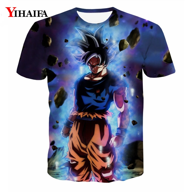 Summer Men 3D Print T shirt Galaxy Goku Saiyan Dragon Ball Z Anime Casual Tee Shirts Graphic Tee Fashion Cartoon Tops(China)