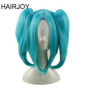 HAIRJOY Synthetic Hair Hatsune Miku Green Cosplay Wig Medium Straight Double Ponytail