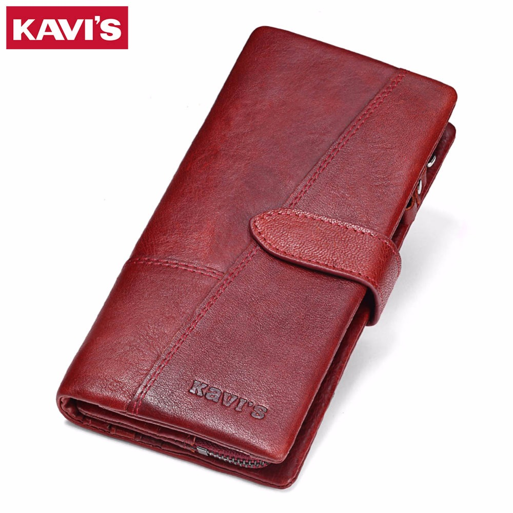 KAVIS Genuine Leather Women Wallet Female Long Clutch Lady Walet Portomonee Rfid Luxury Brand Money Bag Magic Zipper Coin Purse