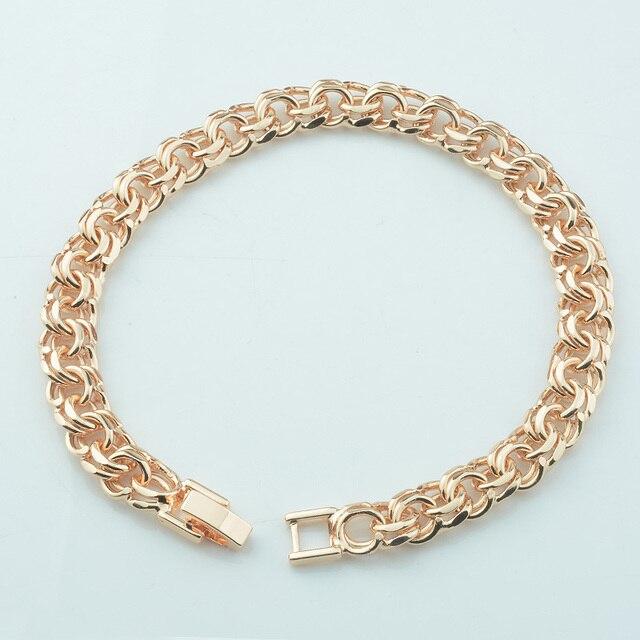 1 sztuk 9 cal 23 cm męskie duże 8 MM różowe złoto kolor Rolo łańcuch krawężnik bransoletka tkania przełącz zatrzask biżuteria