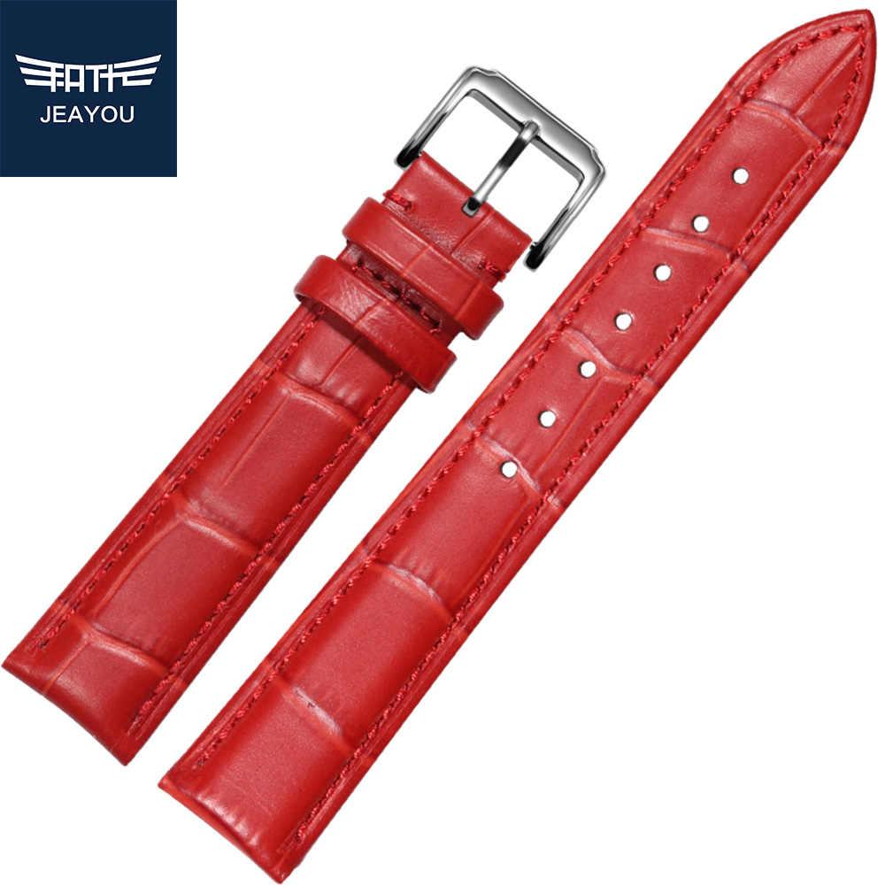 Correa de cuero de buena calidad para Tissot/Casio/Seiko con blanco/rojo/Rosa 16/18/20mm para mujer