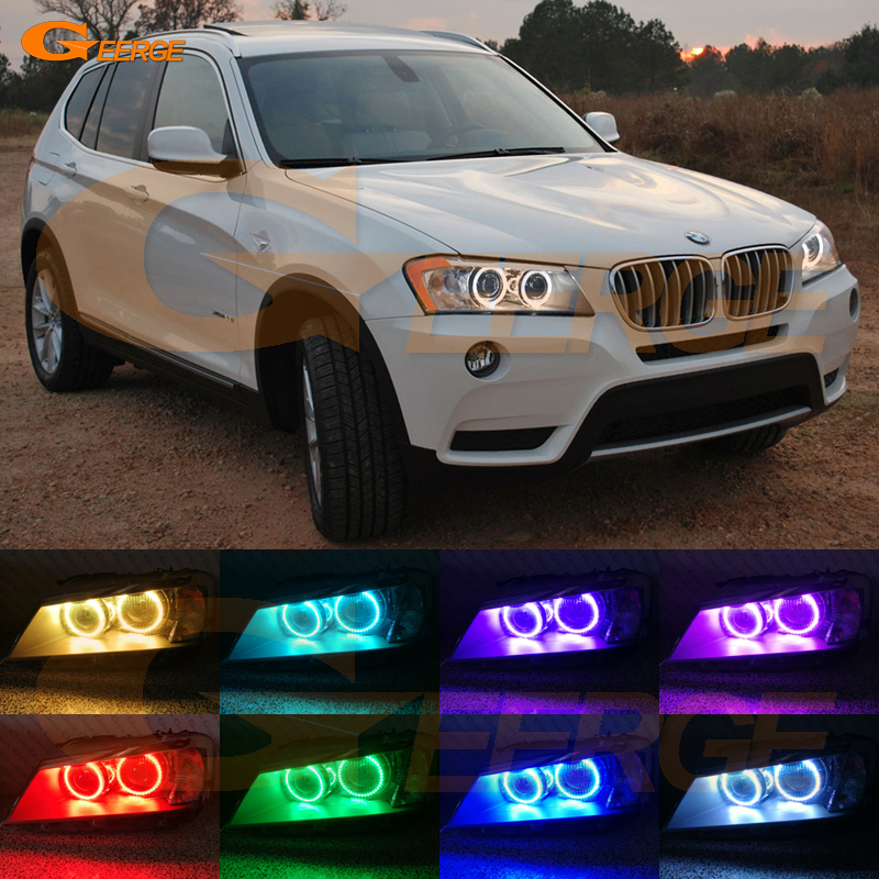 For BMW X3 F25 2010 2011 2012 2013 2014 xenon headlight Excellent Multi-Color Ultra bright RGB LED Angel Eyes kit for lifan 620 solano 2008 2009 2010 2012 2013 2014 excellent angel eyes multi color ultra bright rgb led angel eyes kit