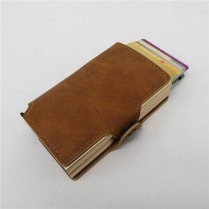 Image 3 - BISI GORO 2019 Men And Women 2 Metal Credit Card Holder Aluminium RFID Blocking PU Wallet Hasp Mini Vintage Wallet Hold 14 Cards