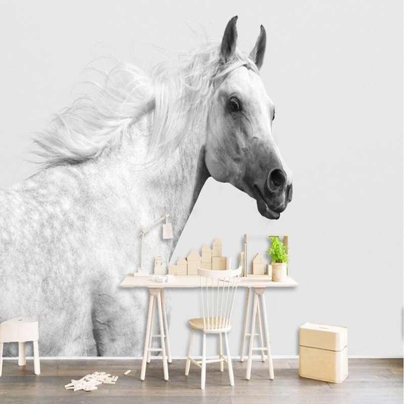 Custom 3D Wall Murals Photo Wallpaper Animal White Horse Modern Wall Mural Simple Style 3D Photo Wallpaper Bedroom 3D Wall Mural white horse animal murals 3d animal wallpaper papel mural for dinning room background 3d wall photo murals wall paper 3d sticker