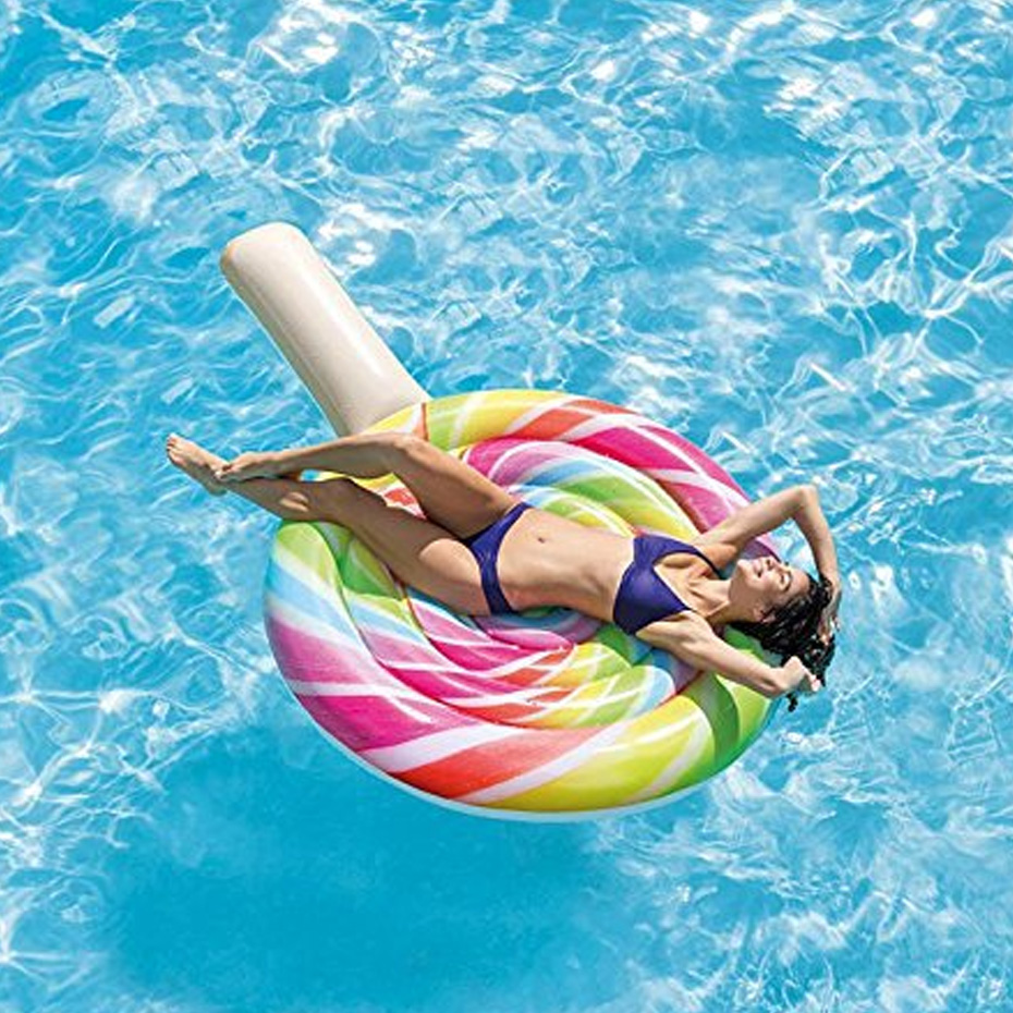 220cm 87inch Giant Inflatable Lollipop Pool Float Ride-On Floats Newest Swimming Ring Lounger Air Mattres Water Party Toy