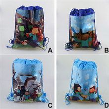 1/2pcs Minecraft Drawstring Bag Gift Bag Lady Bug Non-woven Drawstring Bags Cartoon School Swimming Backpack Action Figure Toys(China)