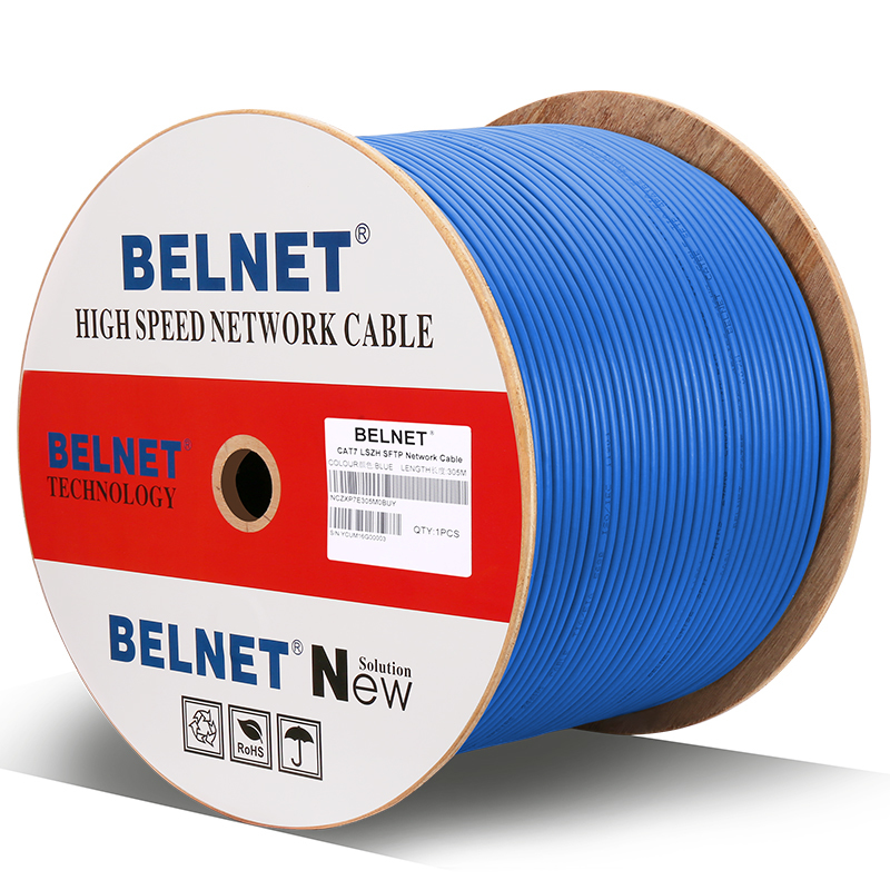 BELNET Engineering CAT7 Double Shielded 10G Network Cable SFTP OFC Pure Copper Twisted Pair RJ45 Box Line Full HD Computer Cable