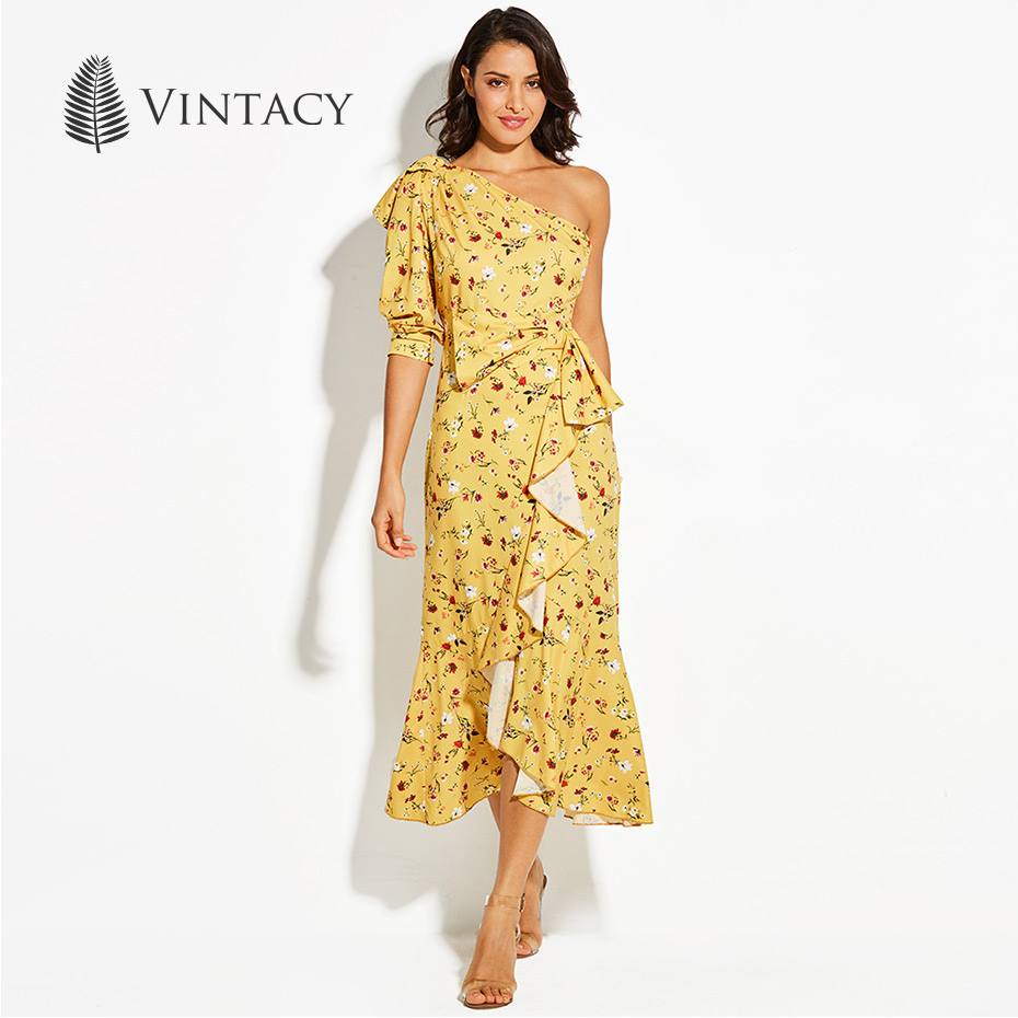 Vintacy One Shoulder Wrap Maxi Dress Women Yellow Floral Printed Asymmetrical Waist Belt Tie Up Boho Dresses Party Long Dress