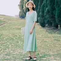 New Women Long dresslt Slim Don\'t 70 Literary Gentle Fairy Shrink Waist Hit Shelves Dresses Mint Green 665