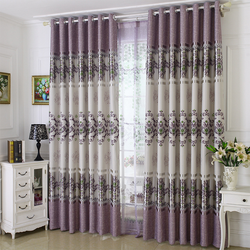 1 PC Curtains For Bedroom New Full-shade Curtains For Living Room Printed Cloth European Style Curtains Tulle Purple Pink Color