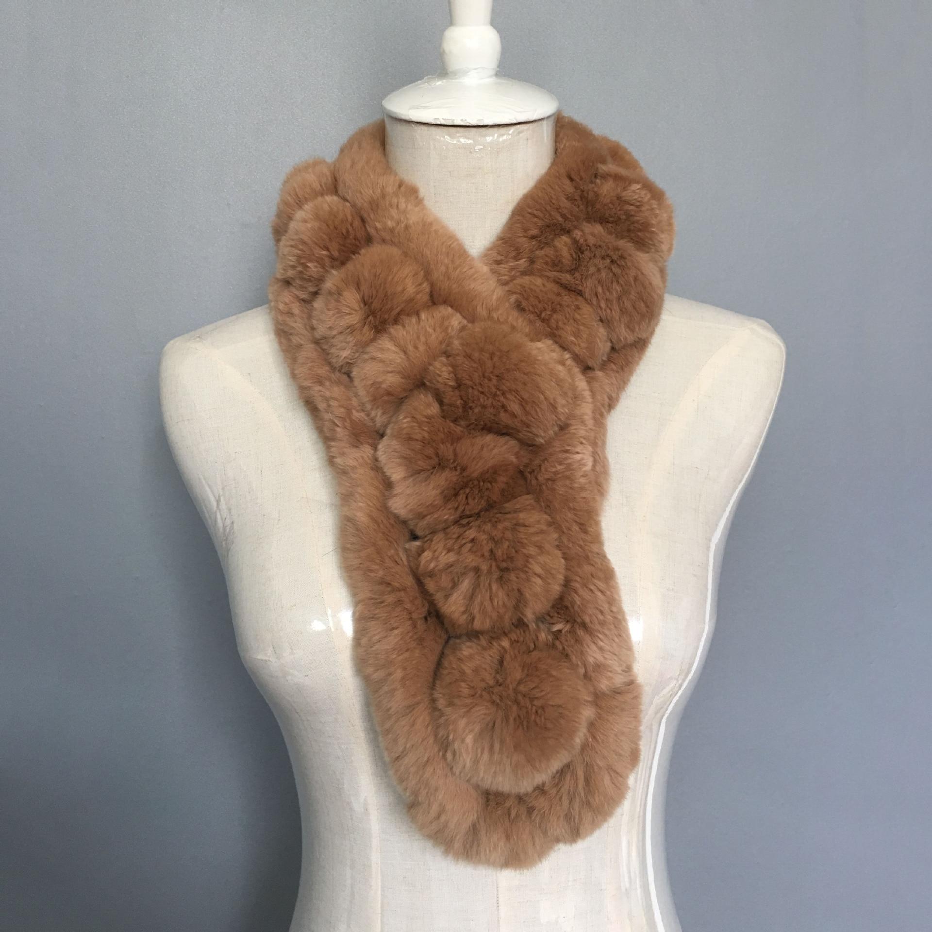 100% réel Rex fourrure de lapin écharpes russes femmes hiver tricoté naturel lapin fourrure foulards enveloppe femme avec fourrure pompon fourrure écharpe