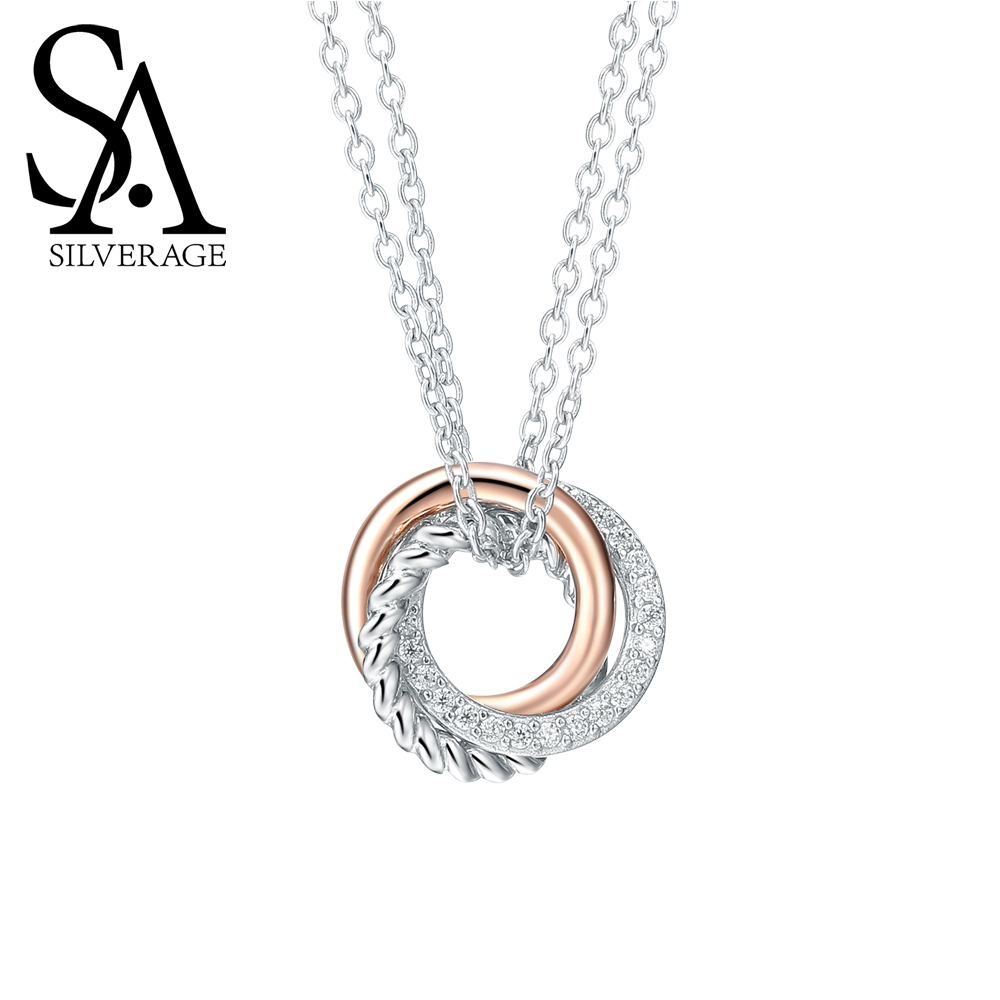 SA SILVERAGE Real 925 Sterling Silver Long Necklaces Pendants Rose Gold Color Fine Jewelry Love 925