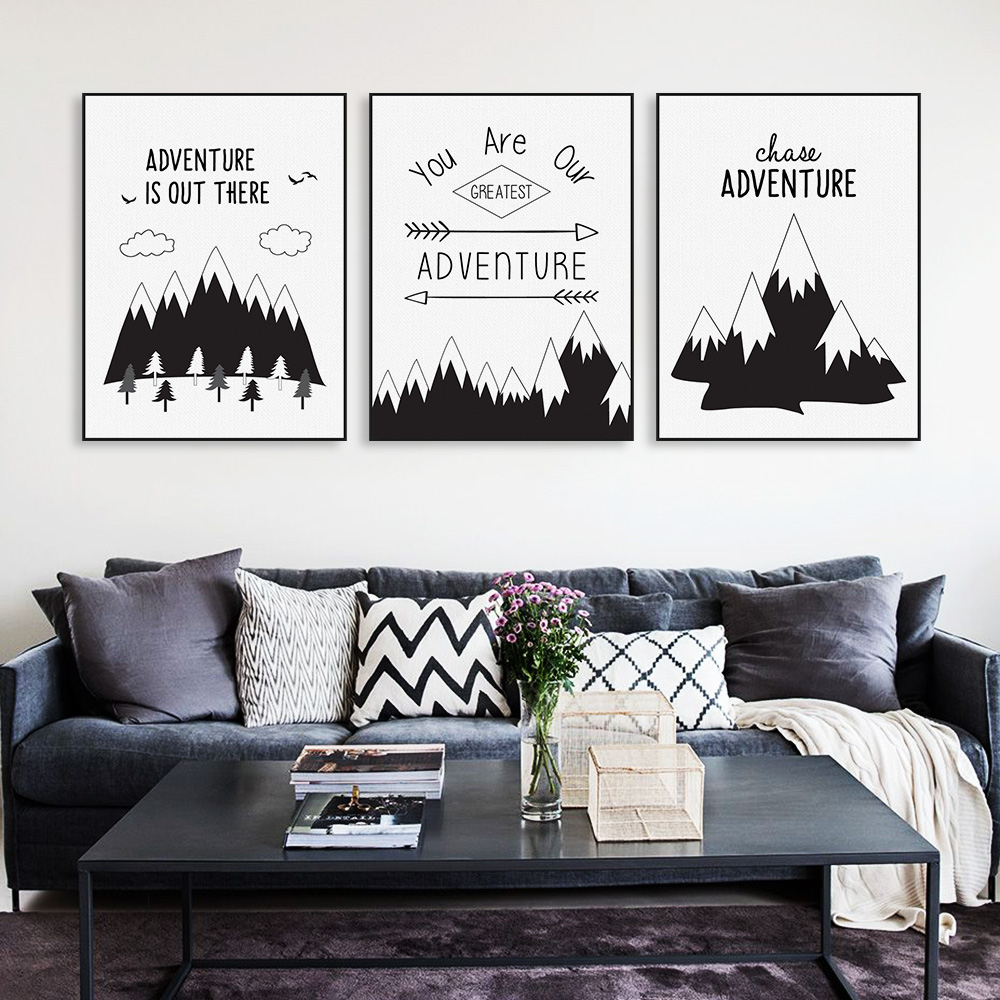 Nordic black typography adventure quotes art print poster for Black and white mural prints