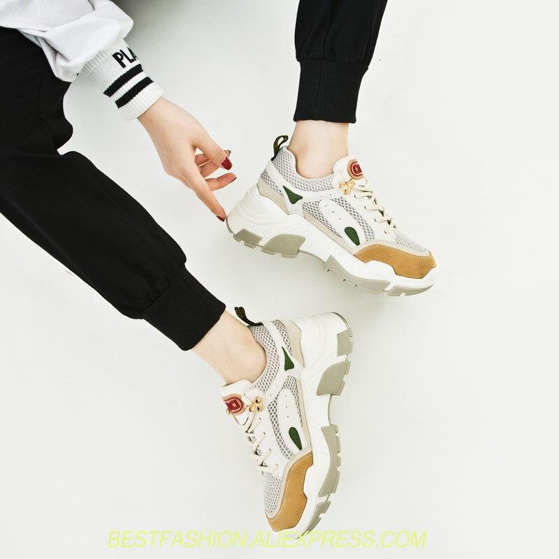 Femmes Mode Mélangée Chaussures Compensées Sneakers Blanches Couleur Lacets as Shown Formateurs La Semelles Rond De À Femme Bout Loisir Chaussure Shown As PqqzgI