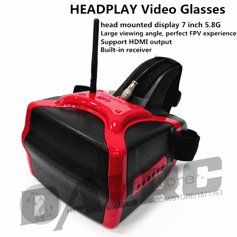 <font><b>HEADPLAY</b></font> FPV <font><b>Video</b></font> <font><b>Glasses</b></font> Head mounted display 7-inch 5.8G for <font><b>DIY</b></font> FPV quadcotper drones QAV250 / ZMR250 / DJI phantom 3