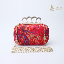 Diamonds finger ring clutch bag for women Knucklebox lace flower day clutches fashion black  red ladies handbags bolsos  8291-2