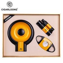 COHIBA Cigar Suit with Ashtray & Cutter Scissors Lighter , Portable Travel Set CQ-4002
