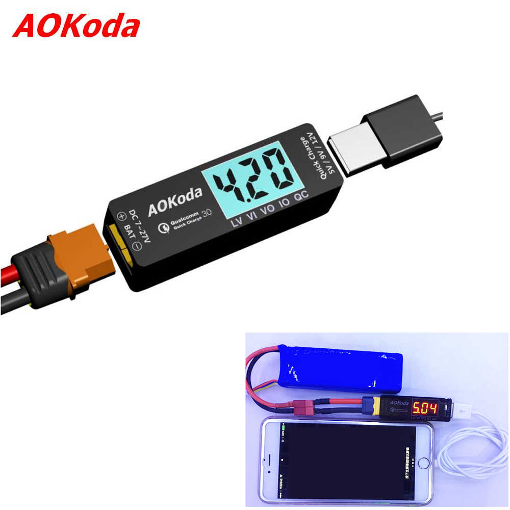 AOKoda Lipo to USB Power Converter QC3.0 Adapter Quick Charger for Smartphone Tablet PC High Quality