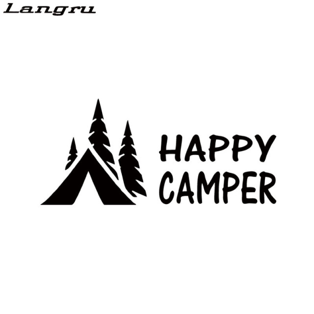 Langru Hot Sale Happy Camper Camping Vinyl Graphics Decals Sticker For Car Accessories Decorative Jdm