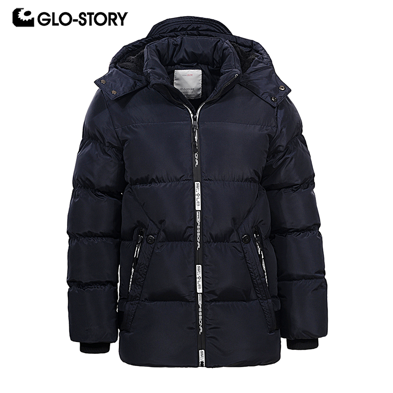 GLO-STORY подростков мальчиков парки для мальчиков на молнии зимние толстые теплые Толстовка с капюшоном куртки BMA-6457