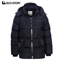 hot deal buy glo-story teenage boys' parkas children boy full zipper  winter thick warm hoodie  jackets coats  bma-6457