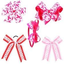 AHB Breast Cancer Awareness Hair Bows for Girls Cheer Bows Hair Elastic Band Hair Clips Ribbons Ties Headbands Fashion Headwear цены