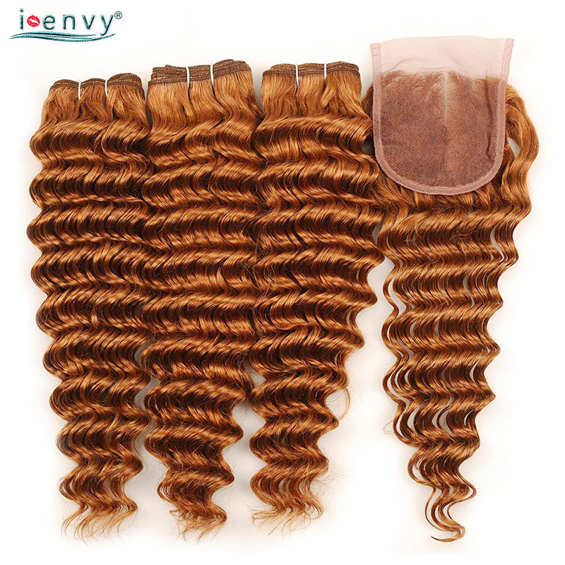 Ginger Brazilian Gold Blonde Deep Wave Bundles With Closure Human Hair Colored Bundles With Closure Honey Blonde Non Remy Weaves