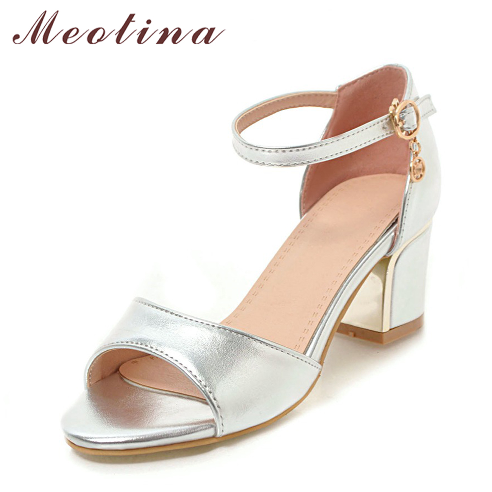 Meotina Women Sandals High Heels Ladies Summer Shoes Peep Toe Block Heels Party Shoes Silver Female 2018 Buckle Large Size 33-43 цена