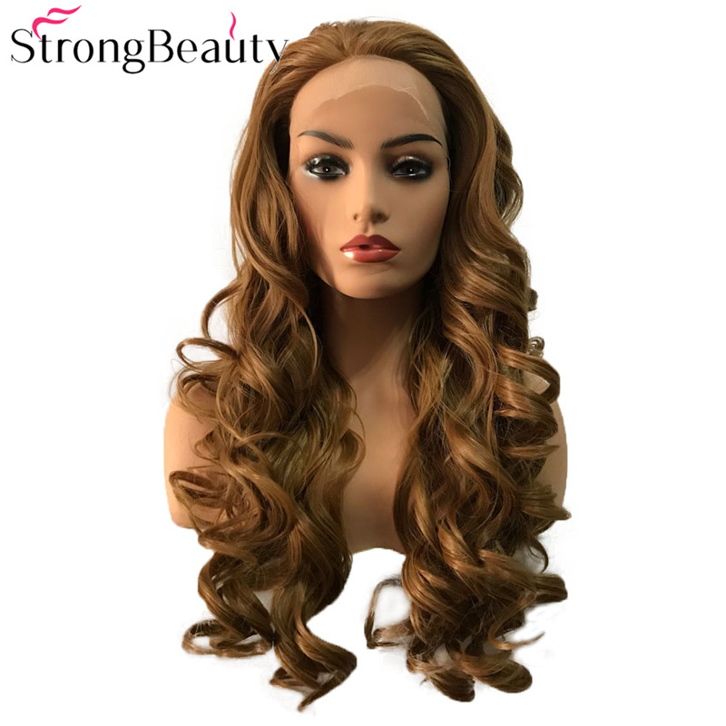 StrongBeauty Synthetic Lace Front Wig Long Curly Natural Wigs Black/Brown/Strawberry/Blond Heat Resistant Fiber Cosplay Wigs