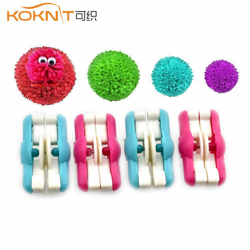 KOKNIT 2 stks/partij Mini Pompom Pom-pom Maker voor Pluizenbol Wever Needle Craft DIY Wol Breien Craft Tool set Decoratie