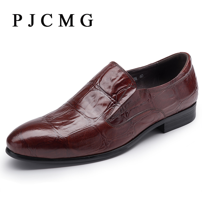 PJCMG 2017 Spring/Autumn Men Oxford Business Black/Red Dress Party Wedding Pointed Toe Slip-On Office & Career Men's Shoes