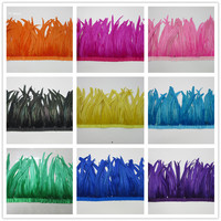 wholesale 10 yards cock feathers Trims 35 40 CM rooster feather Ribbon DIY party wedding dress decoration plume trim