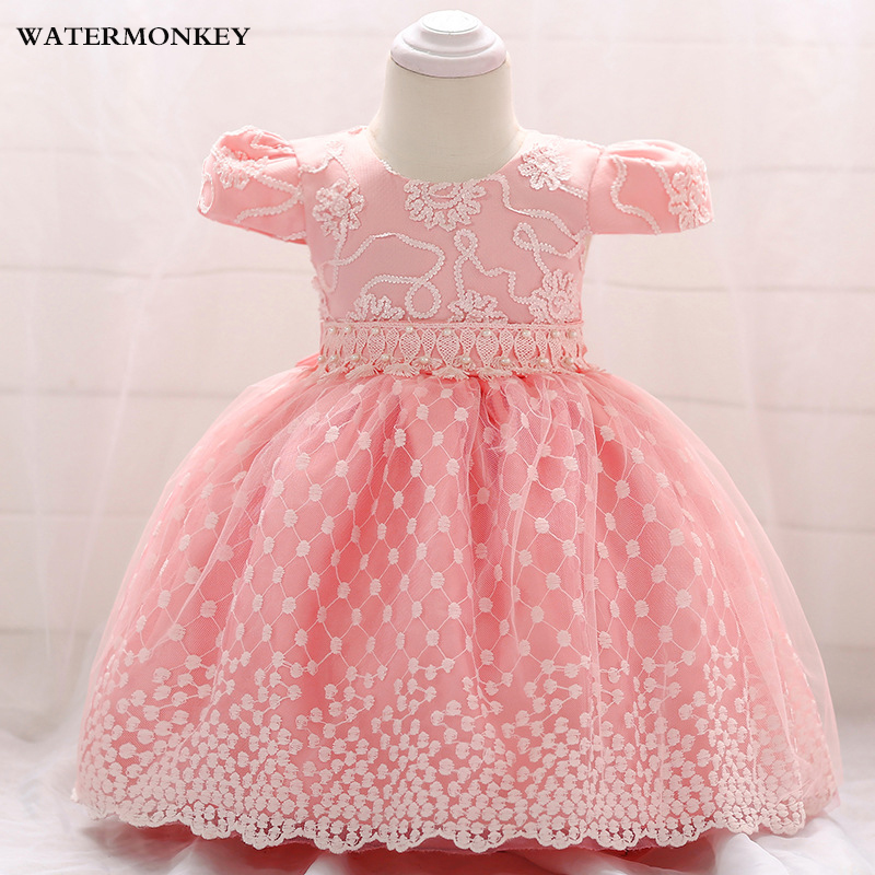 Baby Girl Dress 2018 Summer pearl Lace Tutu Tulle birthday Wedding Party princess Dress Infant Toddler Gowns dress baby pink