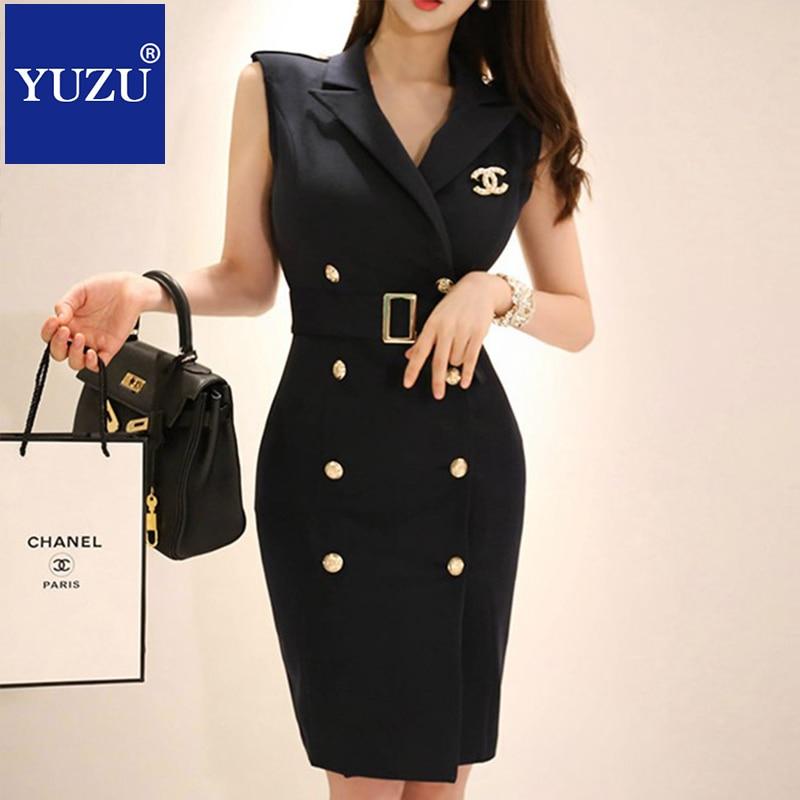 Ropa de oficina para mujeres negro Blazer vestido verano cuello en V con cinturón ramillete doble pecho sin mangas rodilla-longitud lápiz vestidos