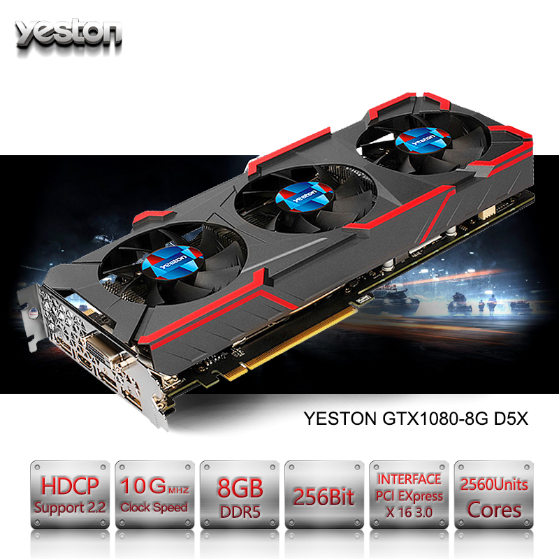 Yeston GeForce GTX 1080 GPU 8GB GDDR5 256 bit Gaming Desktop computer PC Video Graphics Cards support PCI-E X16 3.0 купить
