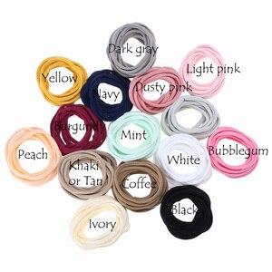 Image 4 - 100 adet/grup, yeni düz renk naylon elastik bantlar süper yumuşak ve işaretsiz, Traceless bebek kafa bantları