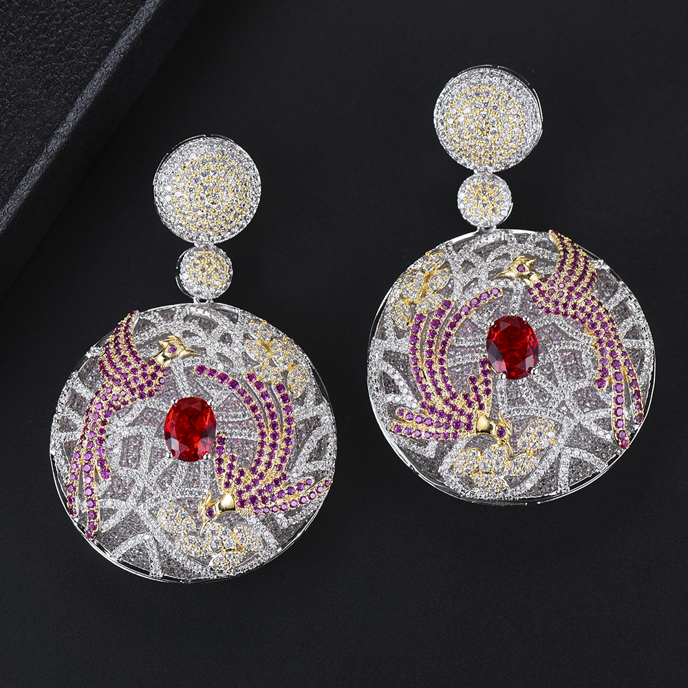 GODKI 68mm Luxury Leaf Drop Flower Full Micro Cubic Zirconia Paved Naija Wedding Party Earring Fashion