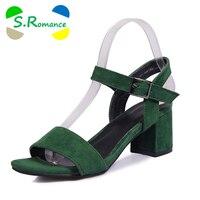 S Romance Women Sandals Plus Size 34 43 Fashion Summer Buckle Strap High Heel Office Lady