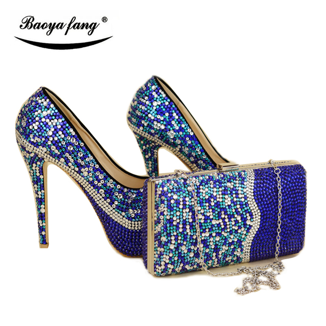 Royal blue mix silver cyrstal wedding shoes with matching bags ...