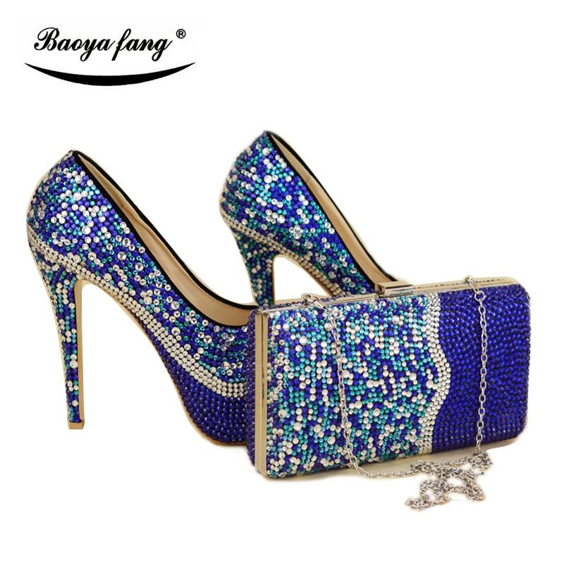 로얄 블루 믹스 실버 cyrstal 웨딩 신발 일치하는 가방 여성 구두와 가방 세트 패션 신발 여성 높은 펌프 라운드 발가락-에서여성용 펌프부터 신발 의  그룹 1
