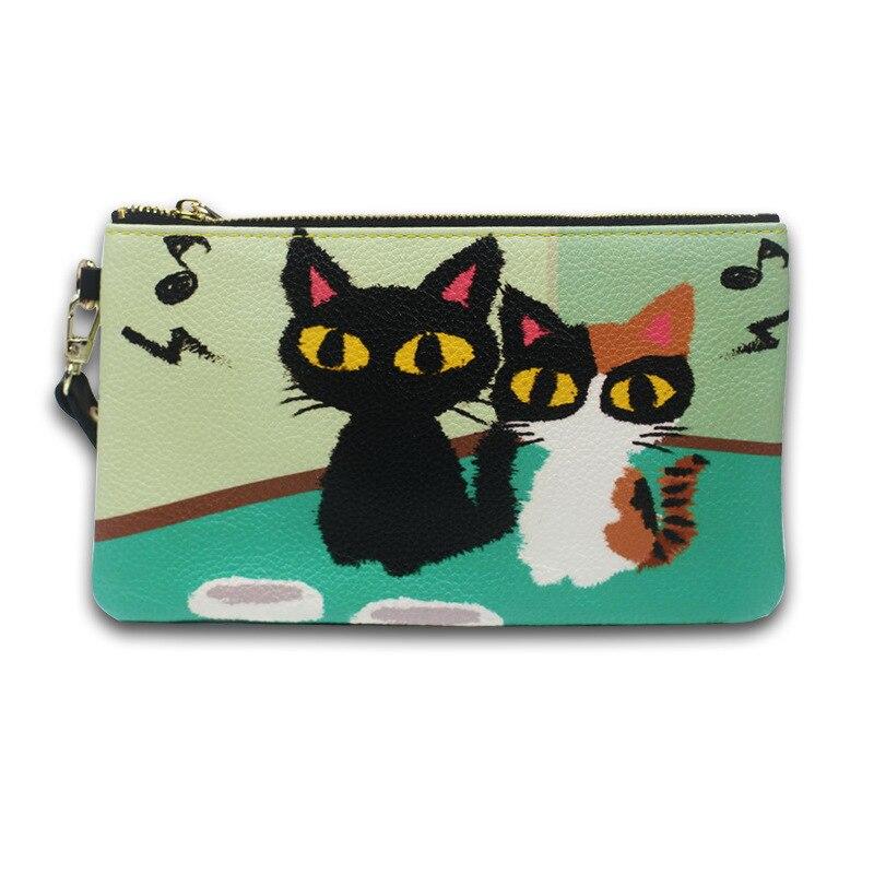 가죽 여성 패션 핸드 클러치 맞춤형 고양이 프린트 핸드백 핸드백 무료 배송